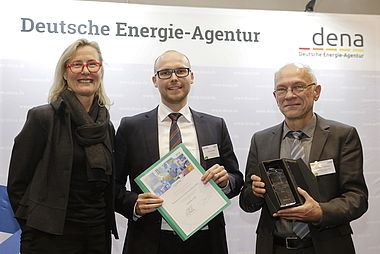 In the photo, from left: dena's Managing Director, Kristina Haverkamp; fjuhlster CEO, Jan Luca Plewa; Dr Bernhard Drehe, Federal Ministry for Economic Affairs.