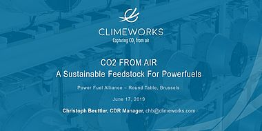 CO2 from air as a sustainable feedstock for powerfuels