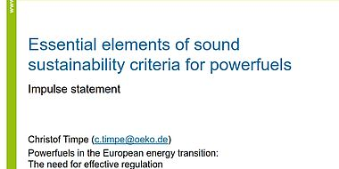 Essential elements of sound sustainability criteria for powerfuels